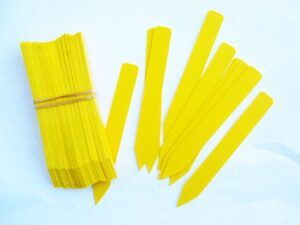 Plant Labels, Yellow Plastic 5 inch stakes